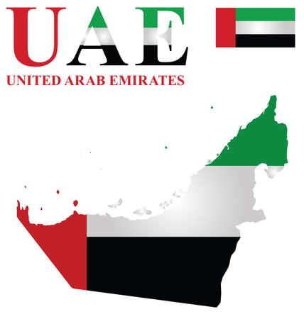 gulf: Flag of United Arab Emirates overlaid on outline map isolated on white background