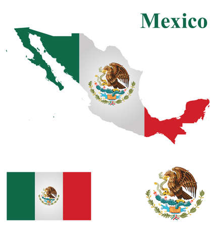 territories: Flag of the United Mexican States overlaid on detailed outline map isolated on white background Illustration