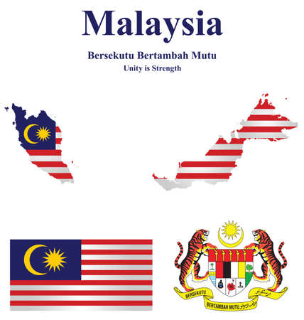 Flag and national emblem Malaysia which forms part of Borneo overlaid on detailed outline map isolated on white background Vector