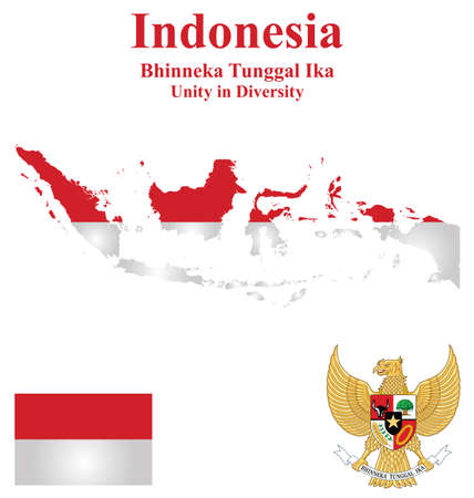 oceana: Flag and national emblem of the Republic of Indonesia which forms part of Borneo overlaid on detailed outline map isolated on white background Illustration