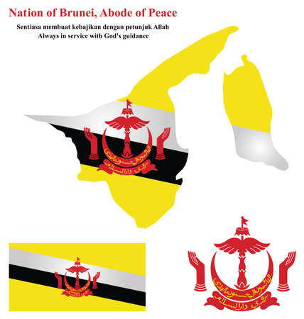 brunei: Flag and national emblem of the Nation of Brunei which forms part of Borneo overlaid on detailed outline map isolated on white background
