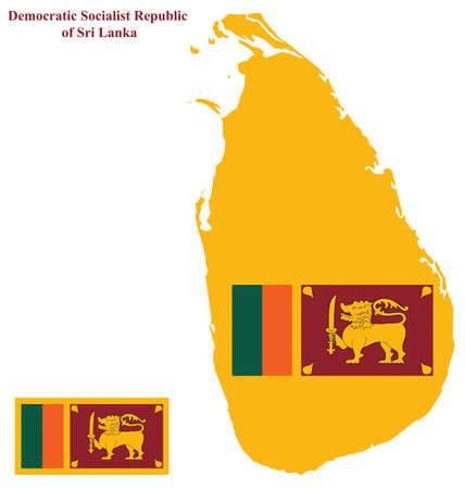 sri: Flag of the Democratic Socialist Republic of Sri Lanka formally Ceylon overlaid on detailed outline map isolated on white background