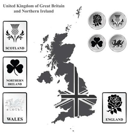 Monochrome flag signs and icons of the United Kingdom of Great Britain and Northern Ireland overlaid on outline map isolated on white background