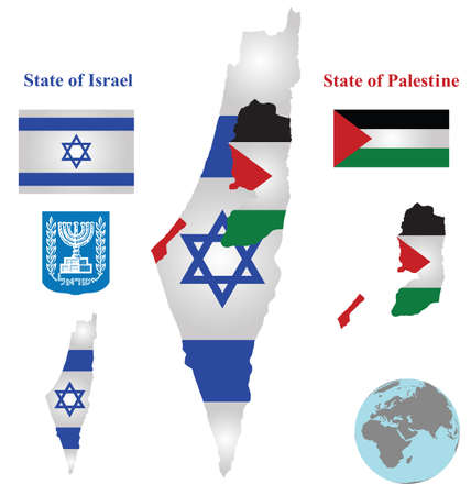 zionism: Flag and coat of arms of the State of Israel and the State of Palestine overlaid on detailed outline map isolated on white background