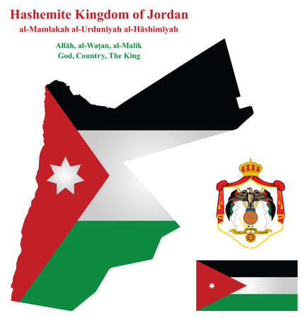 Flag and coat of arms of Hashemite Kingdom of Jordan overlaid on detailed outline map isolated on white background
