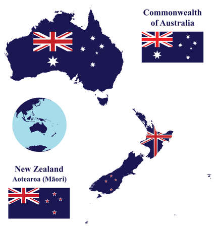 Flags of the Oceania countries of the Commonwealth of Australia and New Zealand overlaid on detailed maps isolated on white background