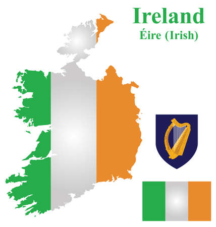 republic of ireland: Flag and coat of arms of the Republic of Ireland overlaid on detailed outline map isolated on white background