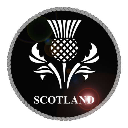 thistle: Monochrome Scotland emblem with lens flare isolated on white background Stock Photo