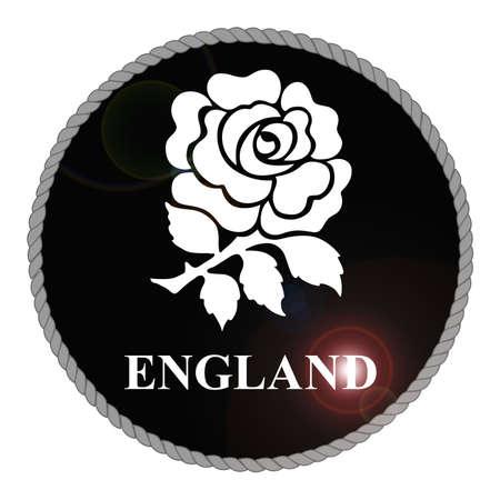 Monochrome England emblem with lens flare isolated on white background