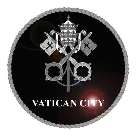 catholic symbols: Monochrome Vatican City emblem with lens flare isolated on white background Stock Photo