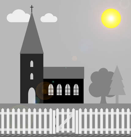 devout: Monochrome church with white picket fence in bright sunlight with lens flare Stock Photo