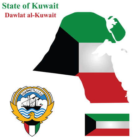 Flag and coat of arms of the Arabic country State of Kuwait overlaid on detailed outline map isolated on white background Illustration