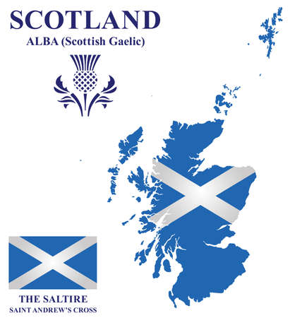 lowlands: Flag and national emblem of Scotland overlaid on detailed outline map isolated on white background Illustration
