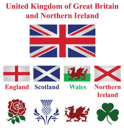 realm: United Kingdom collection of flags and national emblems of England Scotland Wales Northern Ireland isolated on white background