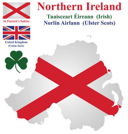 Flag and national emblem of Northern Ireland showing Saint Patrick Saltire overlaid on detailed outline map isolated on white background Vector