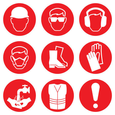 Red Construction Industry Health and Safety Icons isolated on white background