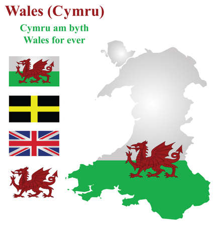 cymru: Flag and national emblem of Wales overlaid on detailed outline map isolated on white background