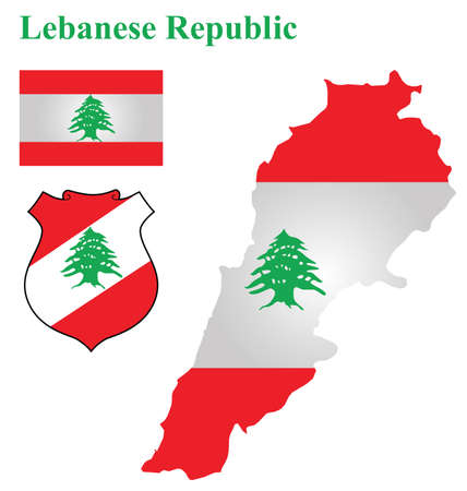 Flag and national coat of arms of the Lebanese Republic overlaid on detailed outline map isolated on white background Illustration