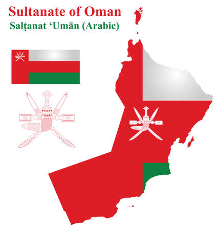 Flag and national coat of arms of the Sultanate of Oman overlaid on detailed outline map isolated on white background