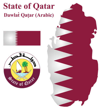 Flag and national coat of arms of the Arabian State of Qatar overlaid on detailed outline map isolated on white background