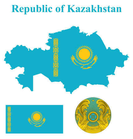 kazakhstan: Flag and national coat of arms of the Republic of Kazakhstan overlaid on detailed outline map isolated on white background Illustration