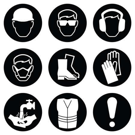 흑백 흑백 건설 및 제조 산업 보건 및 안전 아이콘 컬렉션 흰색 배경에 고립 일러스트