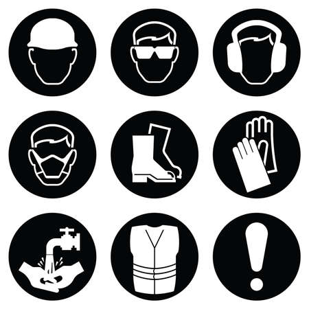 Monochrome black and white Construction and manufacturing Industry Health and Safety Icon collection isolated on white background Vectores