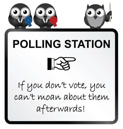 polling: Monochrome comical polling station sign isolated on white background