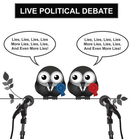 mp: Monochrome comical live political debate with politicians spouting lies and more lies isolated on white background