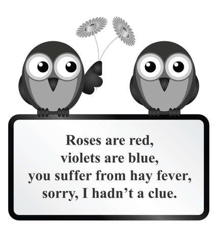 poet: Monochrome comical Hay Fever poem isolated on white background Illustration
