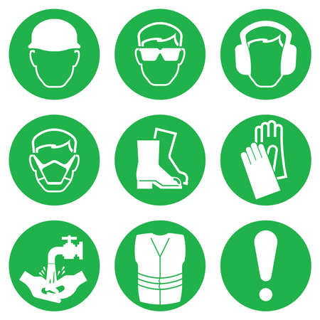protective: Green Construction and manufacturing Industry Health and Safety Icon collection isolated on white background