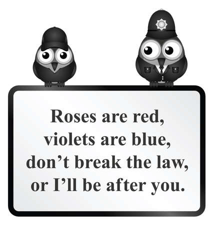 Monochrome comical do not break the law poem isolated on white background Illustration