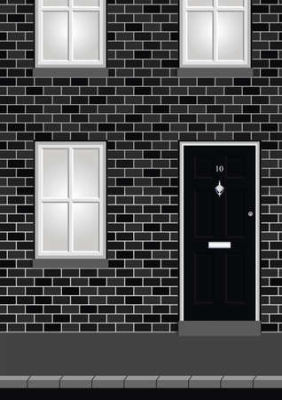 knocker: Monochrome residential house on street with doors and windows