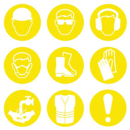 Gelb Bauwirtschaft Gesundheit und Sicherheit Icons isoliert auf weißem Hintergrund