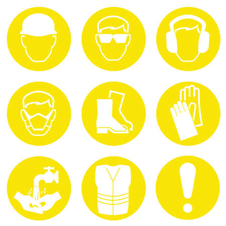 Yellow Construction Industry Health and Safety Icons isolated on white background