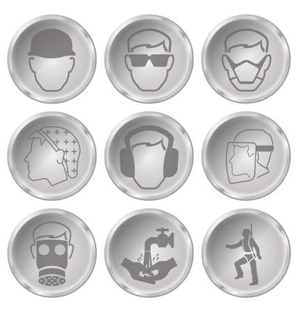 safety harness: Monochrome construction manufacturing and engineering health and safety related icon set isolated on white background