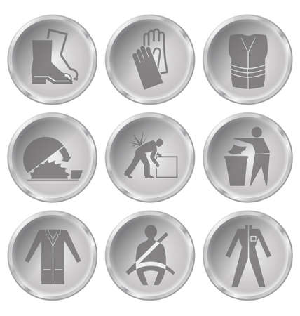 seatbelt: Monochrome construction manufacturing and engineering health and safety related icon set isolated on white background
