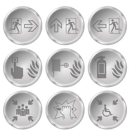fire escape: Monochrome fire escape related icon set isolated on white background