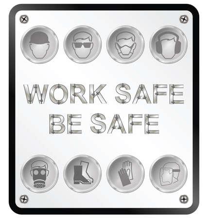 seguridad e higiene: Construcción fabricación Monocromo y la salud de ingeniería y seguridad signo relacionado aislados sobre fondo blanco Vectores
