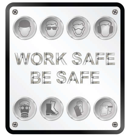 safety goggles: Monochrome construction manufacturing and engineering health and safety related sign isolated on white background