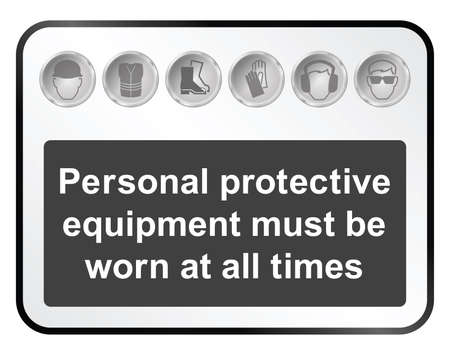 safety shoes: Monochrome construction manufacturing and engineering health and safety related sign isolated on white background
