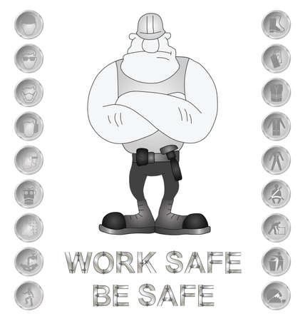safety harness: Monochrome construction manufacturing and engineering health and safety related message isolated on white background