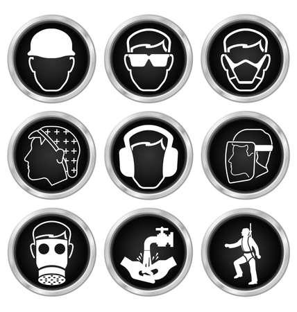 흰색 배경에 고립 된 검은 색과 흰색 건설, 제조 및 엔지니어링 건강 및 안전 관련 아이콘을 설정 일러스트