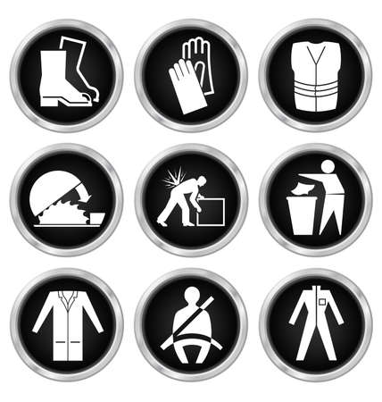 seatbelt: Black and white construction manufacturing and engineering health and safety related icon set isolated on white background
