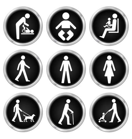 black people: Black people related icon set isolated on white background