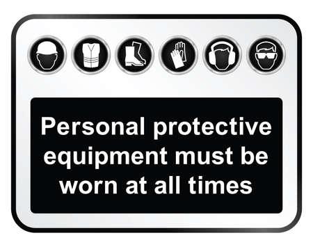 검은 색과 흰색 건설, 제조 및 엔지니어링 건강과 흰색 배경에 고립 된 안전 관련 기호