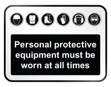 elementos de protecci�n personal: Fabricaci�n de construcci�n blanco y negro y la salud de ingenier�a y el signo relacionado con la seguridad aislado en fondo blanco