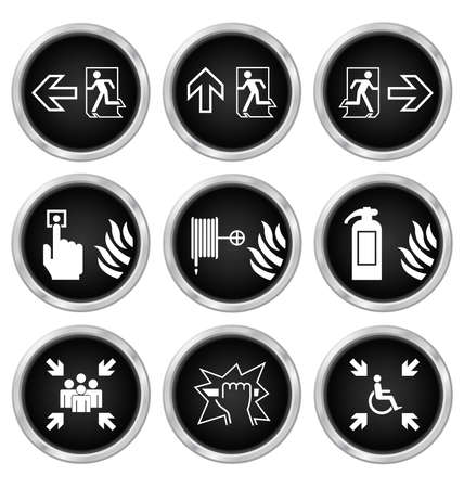 escape route: Black fire escape related icon set isolated on white background