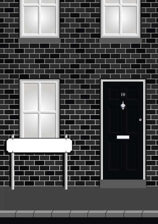 doorstep: Monochrome residential house on street with blank street name sign with copy space for own text Illustration