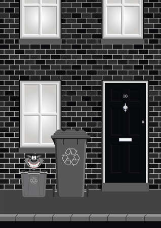 knocker: Monochrome residential house on street with recycling bins out ready for collection